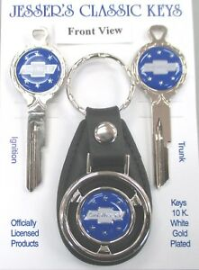 Rare Blue B1 Chevrolet Bow Tie Deluxe Classic White Gold Keys Set 1927 1933
