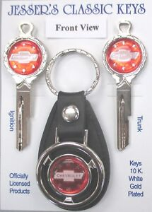 Red Chevrolet B 1 Bow Tie Deluxe Classic White Gold Key Set 1927 1933