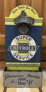 Chevrolet Bottle Opener On Wood Truck Car Gas Oil Garage Bar Pub Decor Chevy