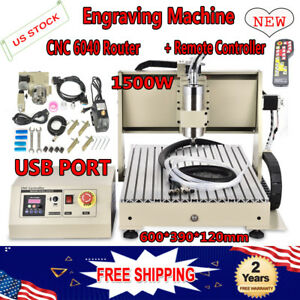 Usb 4 Axis 1 5kw Vfd Cnc 6040 Router Engraver Machine Drill Mill 3d Cutter Rc