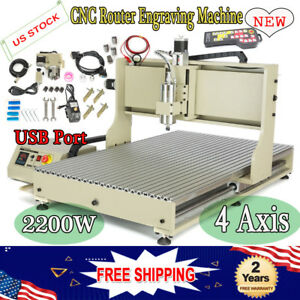 Usb 4 Axis 6090 Cnc Router Engraver Mill Machine 2 2kw Spindle Motor Cutter Rc