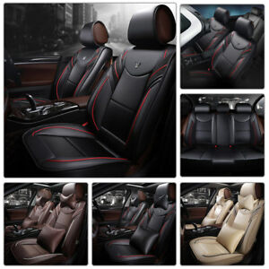 Luxury Sport Car Sedan Seat Cover 5 Seats Racing Pu Leather Cushion All Seasons