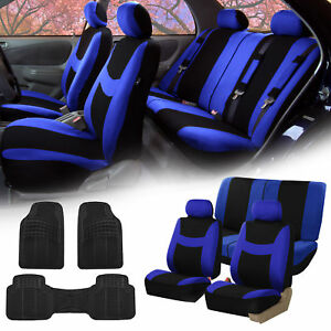Blue Black Car Seat Covers Full Set For Auto W 2 Headrests Rubber Floor Mats