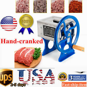 Small Hand Crank Manual Meat Grinder Mincer Stuffer Meat Slicer Cutter Machine