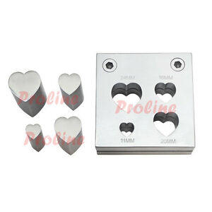 4 Pc Heart Shape Metal Disc Cutter Hole Punch Puncher 11 24mm Goldsmith Jewelry