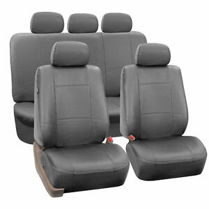 Complete Set Synthetic Leather Car Seat Covers For Auto Gray W 5 Headrests