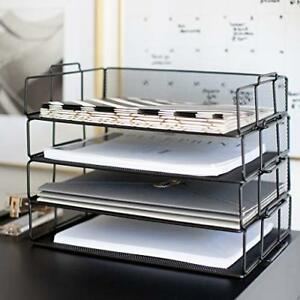 Desk Organizers And Accessories Stackable Paper Tray 4 Tier Stackable Letter