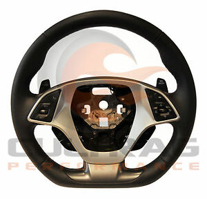 2014 2019 C7 Corvette D Shaped Steering Wheel Manual Leather Torch Red Stitching