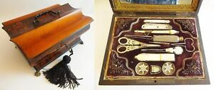 Antique 10 Palais Royal Sewing Box Etui Filled With 11 Mop Treasures