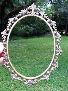 Vintage Italian English Brass Bronze Oval Picture Frame Baroque