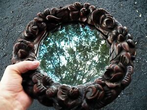 Small Wooden Round Victorian Roses Mirror Deep Relief Carving 12 Diameter
