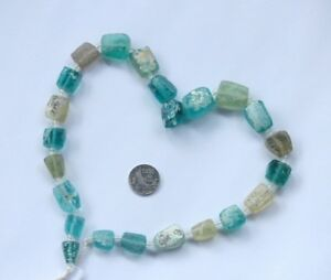 18 Ancient Roman Glass Old Square Beads Strand Necklace Random