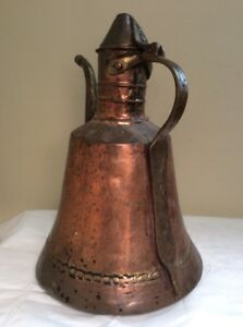Antique Middle East Persian Turkish Coffee Copper Water Kettle Pot Used 1920 S