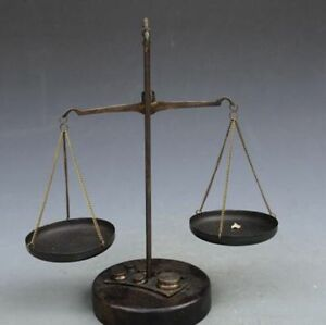 Collection Of Brass Solid Wood Balance Scale With Weights