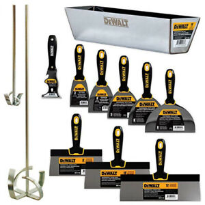 Dewalt Hand Tool Set Stainless Steel 11pc Taping Putty Knives Mixers Mud Pan