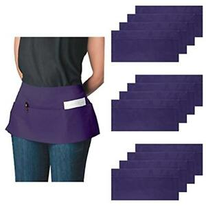 3 pocket Aprons Canvas Waist For Women Men Bulk Set Short Waitress Waiter Half