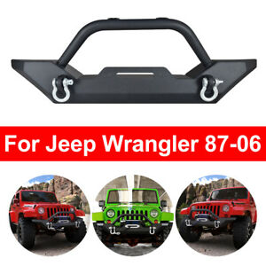 For 87 06 Jeep Wrangler Tj Yj Textured Black Front Bumper W Winch Plate