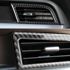 2pc Interior Carbon Fiber Ac Outlet Vent Cover Trim Fit For Ford Mustang 2015 18