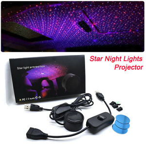 Car Star Night Led Lights Projector Armrest Box Red Blue Galaxy Lamp Waterproof