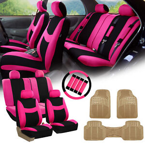 Pink Black Car Seat Covers For Auto W steering Cover belt Pads floor Mat