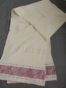 Towel Cloth Linen Scarf Folk Costume Fabric Striped Vintage 18 19th C