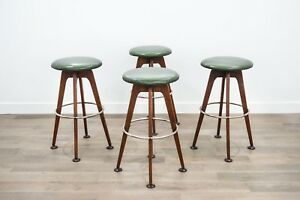 Set Of 4 Mid Century Modern Chet Beardsley Walnut Swivel Bar Stools