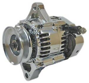 Mini Chrome Chevy Alternator Fits New 60a Street Rod Race 1 wire Self Energizing