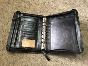 Franklin Covey Black Simulated Leather Zip Around Classic Planner Binder Agenda