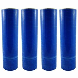 4 Blue 18 x 1500 Ft Roll 80 Gauge Thick Stretch Packing Wrap Pallet Shrink Film