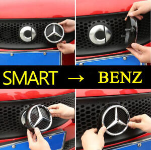 Emblem Sticker Plastic Refit Grille Badge Logo Hood Badge Benz Smart 453 Fortwo