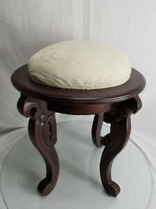 Vintage Victorian Wooden Stool With Curved Legs And Floral Needlepoint Seat