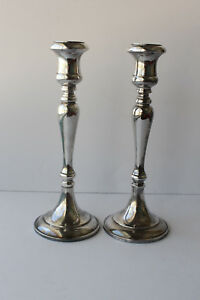 Antique Sheffield Silverplate Candlesticks Made In Italy J12