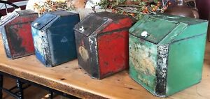 Set Of 4 Antique Tin Canisters General Store Primitive Country Kitchen Aafa