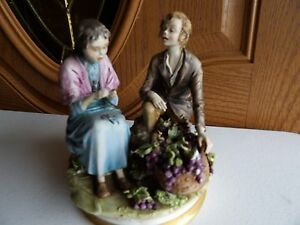 Italy Capodimonte Porcelain Figurines Mark N Detailed Couple W Basket Of Grapes