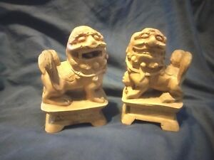 Vtg Pair Of Chinese Wood Carving Carved Statue Foo Dog Lion Fu Dogs