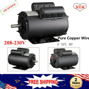 5hp Spl 3450 Base Rpm Air Compressor 60 Hz Single Phase Electric Motor 5 8 In