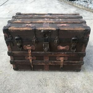 1880s Large Antique Travel Trunk With Hand Tooled Leather