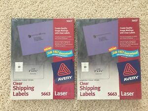 Lot Of 2 Avery 5663 Clear Easy Peel Shipping Labels Laser 2 X 4 500 Per Box