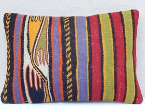 Unique Interesting Pattern Kilim Lumbar Pillow Cover Throw Cushions 14 X 20