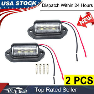 2 Pack Universal 6 Led License Plate Tag Lights Lamps For Truck Suv Trailer Van