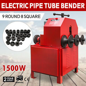 Electric Pipe Tube Bender 9 Round 8 Square Roller Round Single Phase 1500w