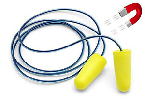 Metal Detectable Disposable Ear Plugs With Detectable Cord Yellow Plugs Box 250