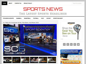 new Design Sports News Blog Website Business For Sale W Automatic Content