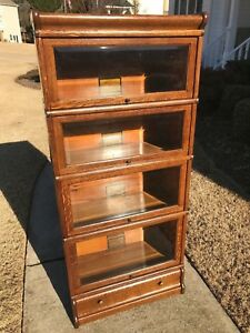 3 4 Oak Globe Wernicke Bookcase Beveled Glass