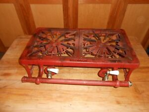 Vintage 2 Burner Cast Iron Tabletop Gas Stove W Porcelain Handles