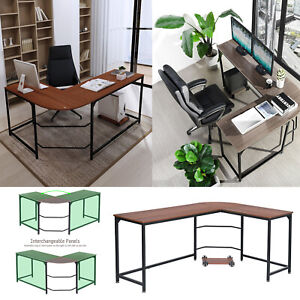 L shaped Wood Corner Computer Desk Pc Laptop Steel Table Workstation Home Office