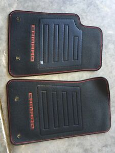 New Black Floor Mats 2010 2015 Camaro Embroided Logo With Red Stitching 2 Pc