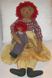 Primitive Country Folk Art Tea Stained Raggedy Ann Doll With Her Dollie 1990 S