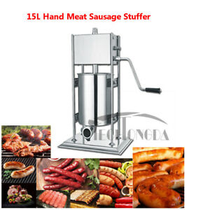 Sausage Stuffer Stainless Steel Vertical Manual Meat Filler 15l
