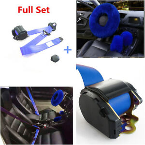 Blue Full Set Wool Car Steering Wheel Cover 3 point Safety Seat Belt Buckle